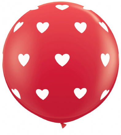 3FT Red  Big Hearts Latex Balloons x 2